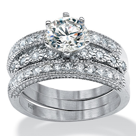 3 Piece 2.35 TCW Round Cubic Zirconia Bridal Ring Set in Platinum over Sterling Silver at PalmBeach Jewelry