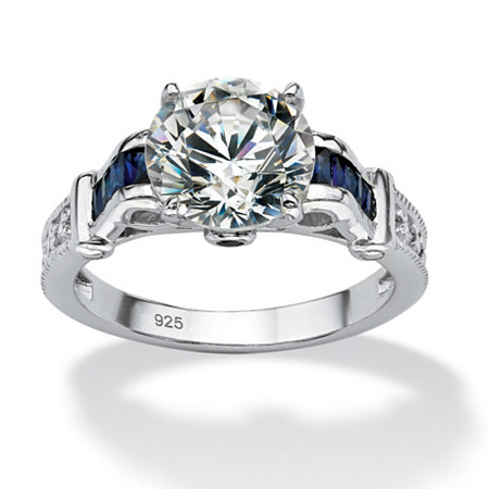5.01 TCW Round Cubic Zirconia and Created Sapphire Engagement Ring in Platinum over .925 Sterling Silver at PalmBeach Jewelry
