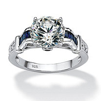 5.01 TCW Round Cubic Zirconia and Created Sapphire Engagement Ring in Platinum over .925 Sterling Silver