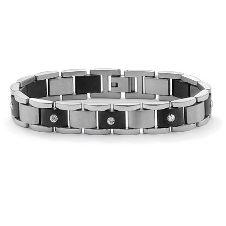 "Men's Crystal Accent Bar-Link Bracelet in Black Ion-Plated Stainless Steel 8.25"" at PalmBeach Jewelry"