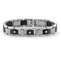 Men's Crystal Accent Bar-Link Bracelet in Black Ion-Plated Stainless Steel