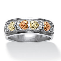 Tri-Tone 12k Black Hills Gold and Sterling Silver Leaf Design Ring