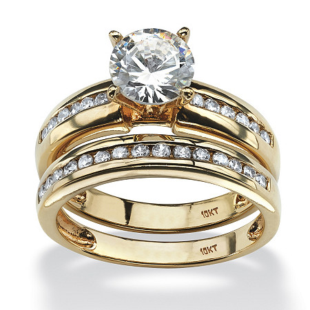 1.91 TCW Round Cubic Zirconia Two-Piece Bridal Set in 10k Gold at PalmBeach Jewelry