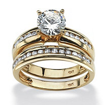 1.91 TCW Round Cubic Zirconia Two-Piece Bridal Set in 10k Gold
