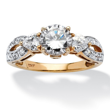 2.23 TCW Round and Heart-Cut Twisting Shank Cubic Zirconia Ring in Solid 10k Gold at PalmBeach Jewelry