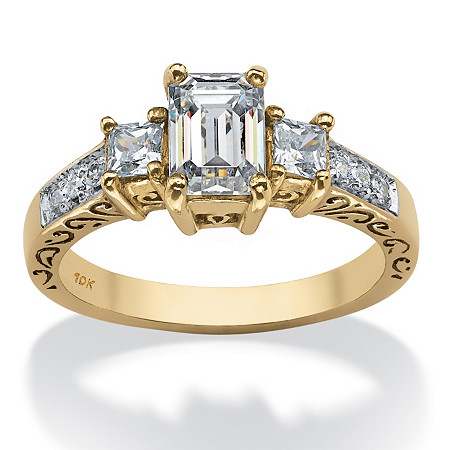 1.27 TCW Emerald-Cut Cubic Zirconia Scroll Ring in Solid 10k Gold at PalmBeach Jewelry