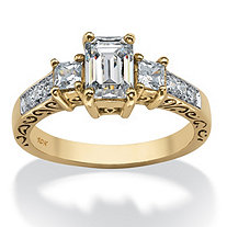 1.27 TCW Emerald-Cut Cubic Zirconia Scroll Ring in 10k Gold