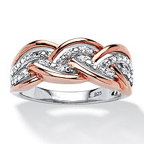 1/10 TCW Round Diamond Braid Ring in Platinum-Plated and Rose Gold over Sterling Silver