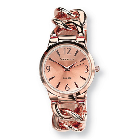 Vernier Curb-Link Watch Rose Gold-Plated Adjustable 7.5