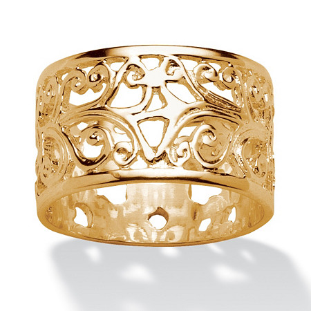 Vintage-Style Filigree Scroll Design Ring Band in 18k Gold over Sterling Silver at PalmBeach Jewelry