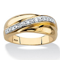 Men's 1/10 TCW Round Diamond Wedding Band in 18k Gold over Sterling Silver