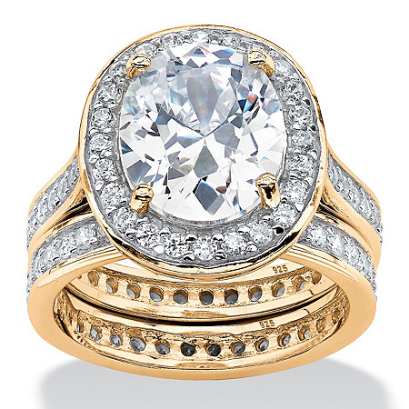 5.88 TCW Cubic Zirconia Two-Piece Eternity Bridal Set 18k Gold Over Silver at PalmBeach Jewelry