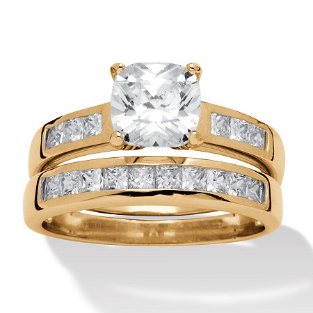 Cushion-Cut Cubic Zirconia 2-Piece Wedding Ring Set 1.94 TCW in 18k Gold over Sterling Silver at PalmBeach Jewelry