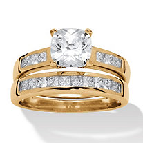 SETA JEWELRY Cushion-Cut Cubic Zirconia 2-Piece Wedding Ring Set 1.94 TCW in 18k Gold over Sterling Silver