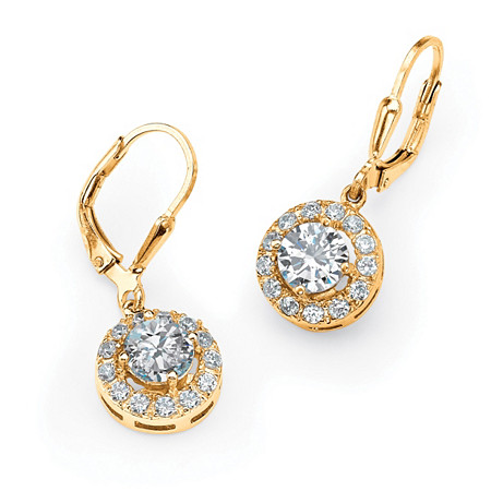 2.51 TCW Round Cubic Zirconia Halo Drop Earrings in 18k Gold over Sterling Silver at PalmBeach Jewelry