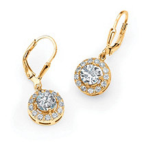 2.51 TCW Round Cubic Zirconia Halo Drop Earrings in 18k Gold over Sterling Silver
