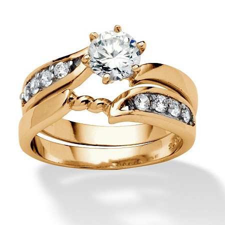 2 Piece .86 TCW Round Cubic Zirconia Twist Bridal Ring Set in 18k Gold over Sterling Silver at PalmBeach Jewelry