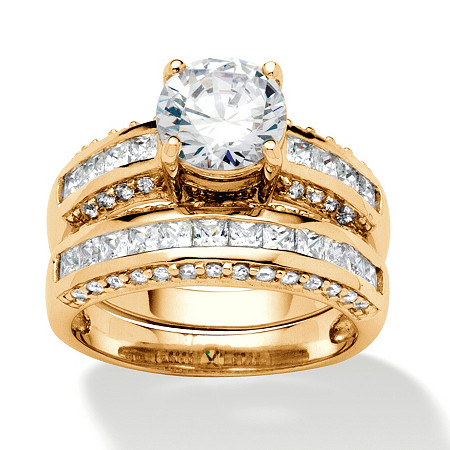 2 Piece 2.86 TCW Round Cubic Zirconia Bridal Ring Set in 18k Gold over Sterling Silver at PalmBeach Jewelry
