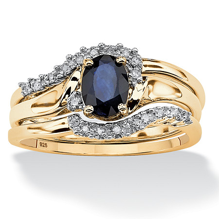 3 Piece Oval-Cut Midnight Sapphire Bridal Ring Set in 18k Gold over Sterling Silver at PalmBeach Jewelry