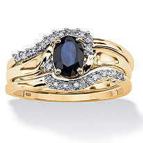 SETA JEWELRY 3 Piece Oval-Cut Midnight Sapphire Bridal Ring Set in 18k Gold over Sterling Silver