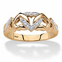 Diamond Accent Two-Tone Interlocking Hearts Ring in 18k Gold over Sterling Silver