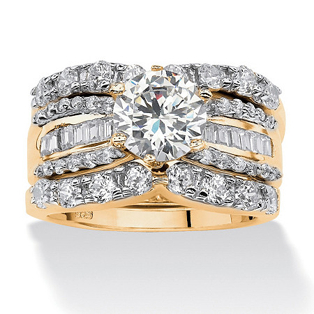 3 Piece 5.62 TCW Round Cubic Zirconia Bridal Ring Set in 18k Gold over Sterling Silver at PalmBeach Jewelry
