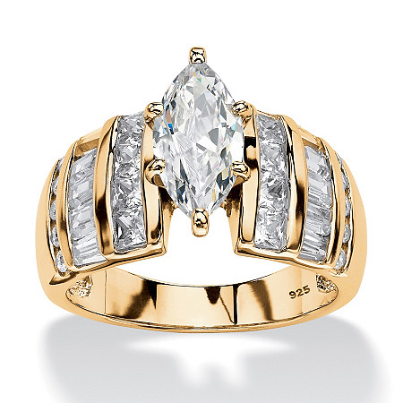 3.87 TCW Marquise-Cut Cubic Zirconia Ring in 18k Gold over Sterling Silver at PalmBeach Jewelry