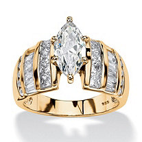 3.87 TCW Marquise-Cut Cubic Zirconia Ring in 18k Gold over Sterling Silver