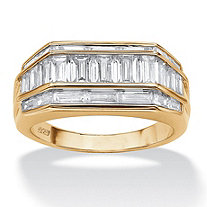 SETA JEWELRY Men's 4.28 TCW Channel Set Baguette Cubic Zirconia Ring in 14k Gold over Sterling Silver