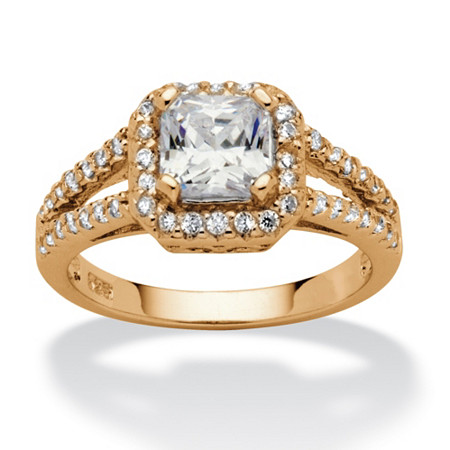 1.63 TCW Princess-Cut Cubic Zirconia Halo Split Shank Ring in 18k Gold over Sterling Silver at PalmBeach Jewelry