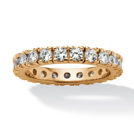 1.58 TCW Round Cubic Zirconia Eternity Band in 18k Gold over Sterling Silver at PalmBeach Jewelry