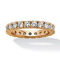 1.58 TCW Round Cubic Zirconia Eternity Band in 18k Gold over Sterling Silver