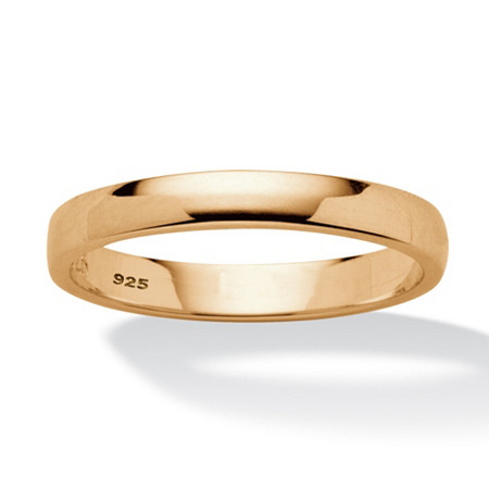 18k Gold over .925 Sterling Silver Wedding Band (2.5mm) at PalmBeach Jewelry