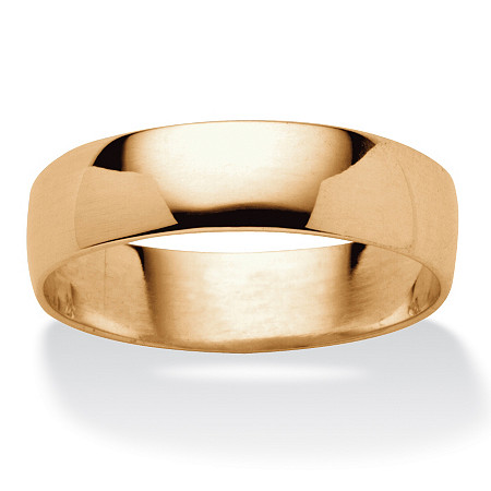 Polished Wedding Band in 18k Gold over Sterling Silver (5mm) Sizes 5-16 at PalmBeach Jewelry