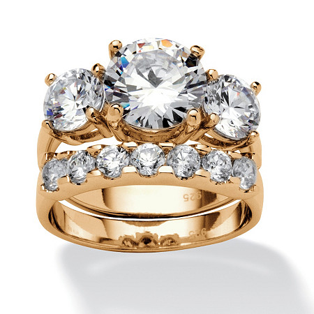2 Piece 5.50 TCW Round Cubic Zirconia Bridal Ring Set in 18k Gold over Sterling Silver at PalmBeach Jewelry