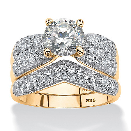 3.21 TCW Round Cubic Zirconia Two-Piece Bridal Set in 14k Gold over Sterling Silver at PalmBeach Jewelry