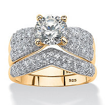SETA JEWELRY 3.21 TCW Round Cubic Zirconia Two-Piece Bridal Set in 14k Gold over Sterling Silver