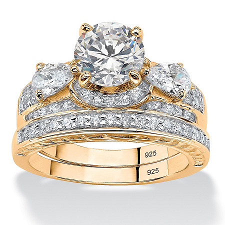 3.47 TCW Round Cubic Zirconia Two-Piece Bridal Set in 14k Gold over .925 Sterling Silver at PalmBeach Jewelry