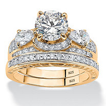 3.47 TCW Round Cubic Zirconia Two-Piece Bridal Set in 14k Gold over .925 Sterling Silver