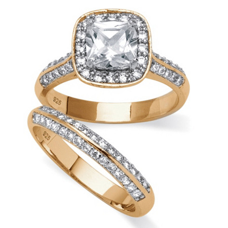2.08 TCW Princess-Cut Cubic Zirconia Bridal Ring Two-Piece Set in 14k Gold over Sterling Silver at PalmBeach Jewelry