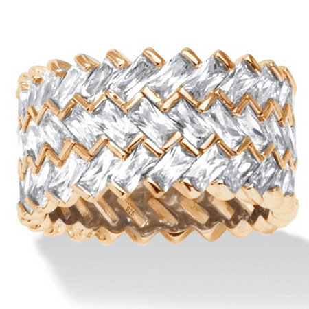 9.66 TCW Baguette-Cut Cubic Zirconia 14k Gold over Sterling Silver Zig-Zag Eternity Ring at PalmBeach Jewelry