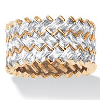 9.66 TCW Baguette-Cut Cubic Zirconia 14k Gold over Sterling Silver Zig-Zag Eternity Ring