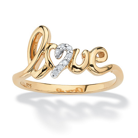 Diamond Accent Love Ring in 18k Gold over Sterling Silver at PalmBeach Jewelry