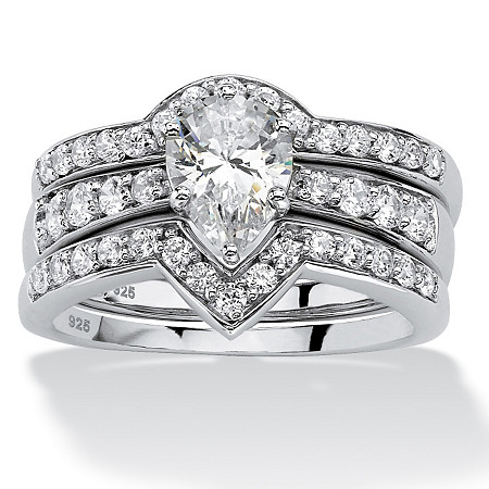 3 Piece 1.94 TCW Pear-Cut Cubic Zirconia Bridal Ring Set in Platinum over Sterling Silver at PalmBeach Jewelry