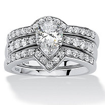 3 Piece 1.94 TCW Pear-Cut Cubic Zirconia Bridal Ring Set in Platinum over Sterling Silver