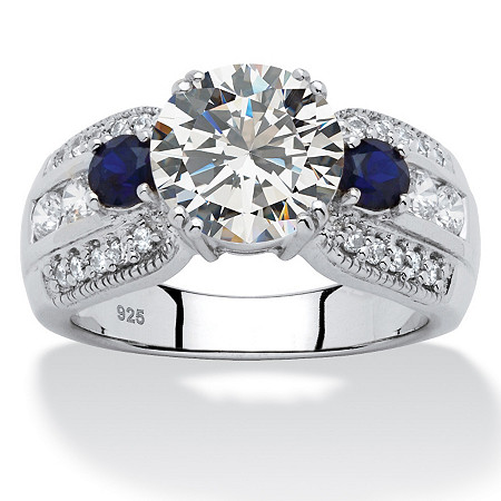 3.91 TCW Round Cubic Zirconia and Sapphire Ring in Platinum over Sterling Silver at PalmBeach Jewelry
