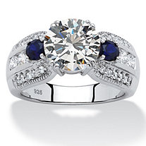 SETA JEWELRY 3.91 TCW Round Cubic Zirconia and Sapphire Ring in Platinum over Sterling Silver