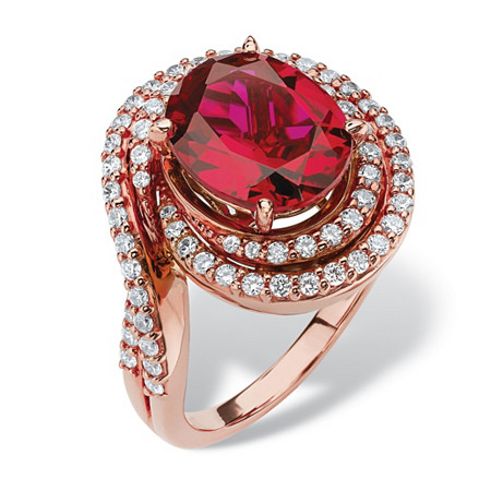 4.46 TCW Oval-Cut Ruby and Cubic Zirconia Swirl Ring in Rose Gold over Sterling Silver at PalmBeach Jewelry