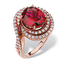 SETA JEWELRY 4.46 TCW Oval-Cut Ruby and Cubic Zirconia Swirl Ring in Rose Gold over Sterling Silver