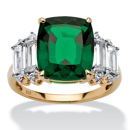 5.36 TCW Emerald-Cut Emerald and Cubic Zirconia Ring in 18k Gold over Sterling Silver at PalmBeach Jewelry